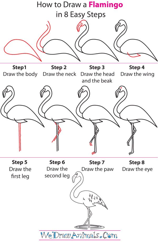 pink flamingo sketch at