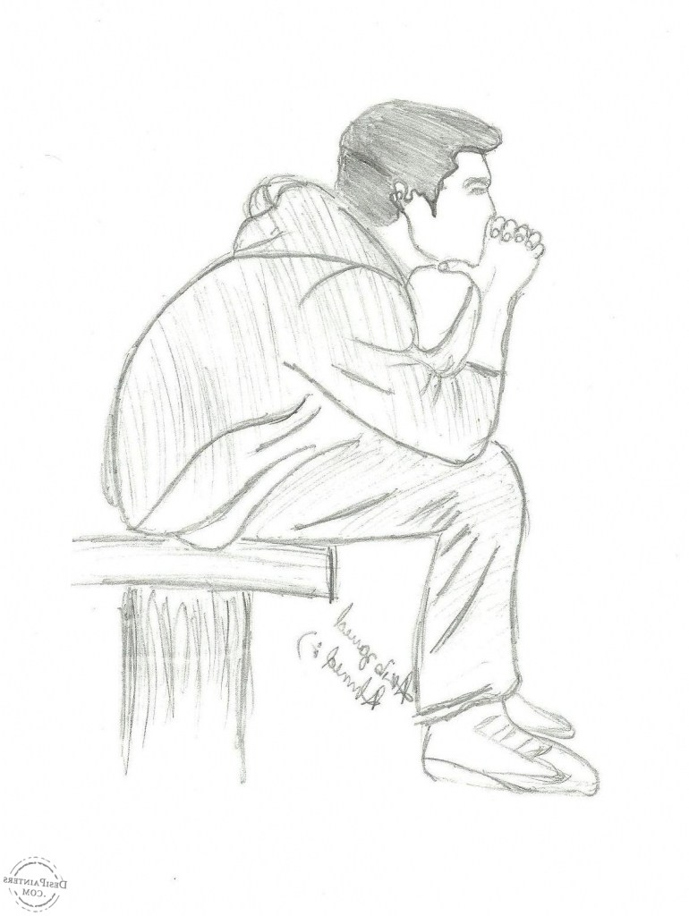 sad boy sketch at