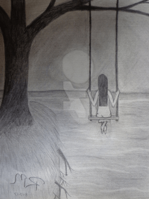 sad sketch sketches lonely easy draw anime paintingvalley