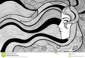 abstract illustration simple drawing easy vector outline sketches woman hand drawn paintings drawings draw haired paintingvalley