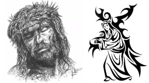 sketch jesus crucifixion simple pen drawing tribal sketches paintingvalley friday
