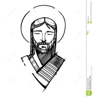 simple jesus face sketch drawing christ serene clipart sketches paintingvalley vector illustration