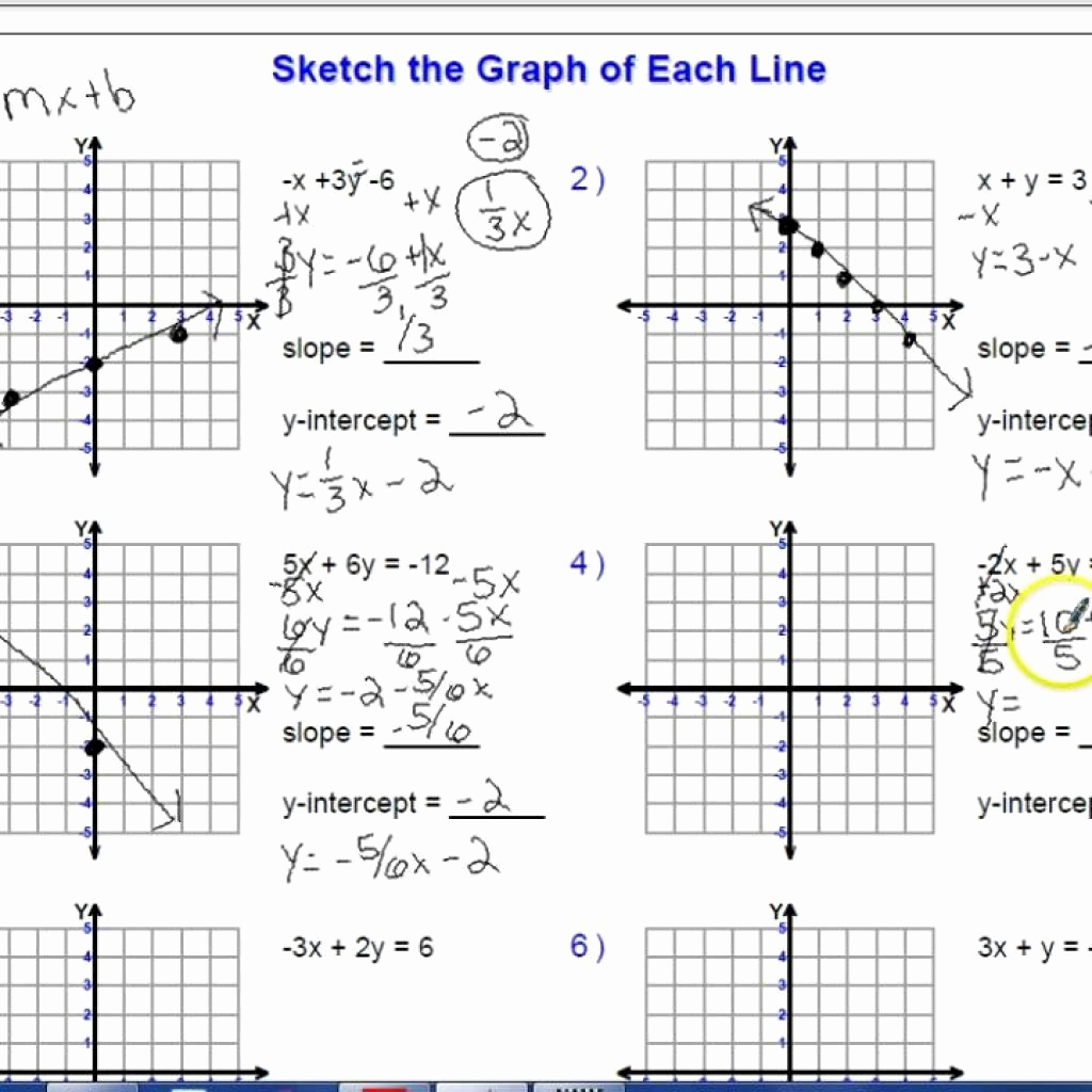 Sketch The Graph Of Each Line Worksheet