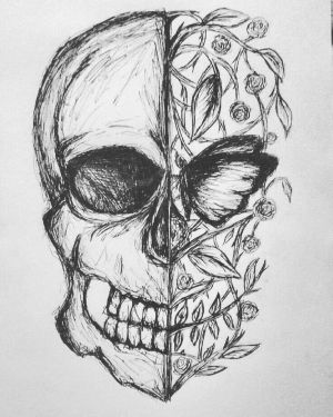 sketch skull easy drawing drawings sketches paintingvalley