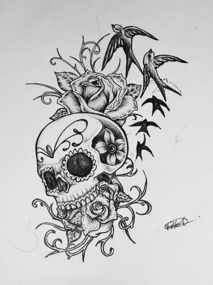 sugar skull tattoo sketch