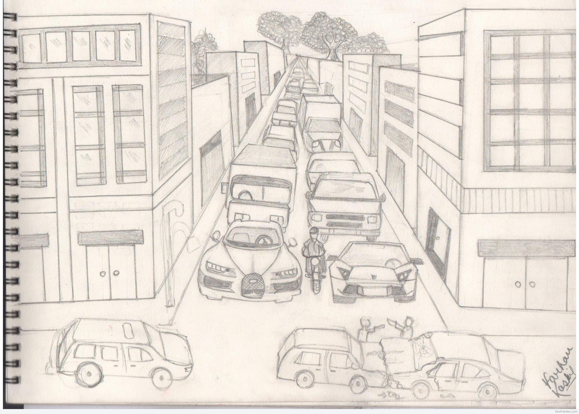 hight resolution of 3508x2510 pencil sketch of traffic jam traffic sketch