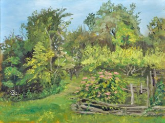Summer Gardens at the Homestead, 9 x 12 oil on Ampersand museum Gessobord. $350