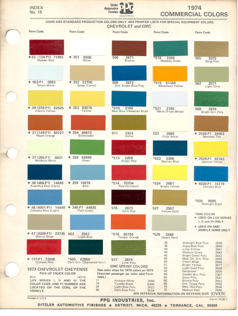 1974 Chevy Truck Color Chart 1957