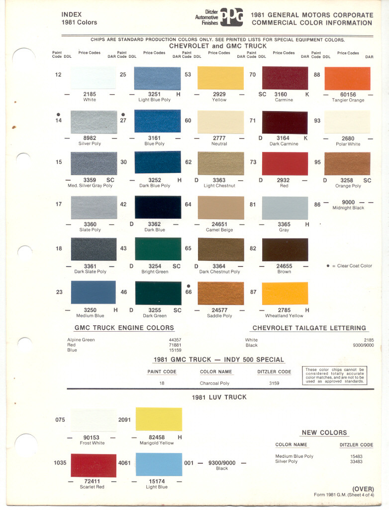 1957 Chevy Exterior Colors Color Chart