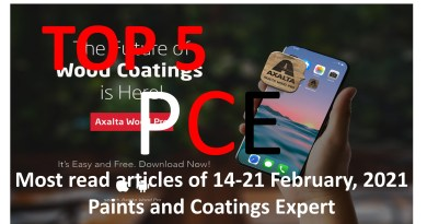 Top 5 Most read articles from 21-28 February, 2021 on Paints and Coatings Expert