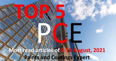 Top 5 Most read articles from 9-15 August, 2021 on Paints and Coatings Expert