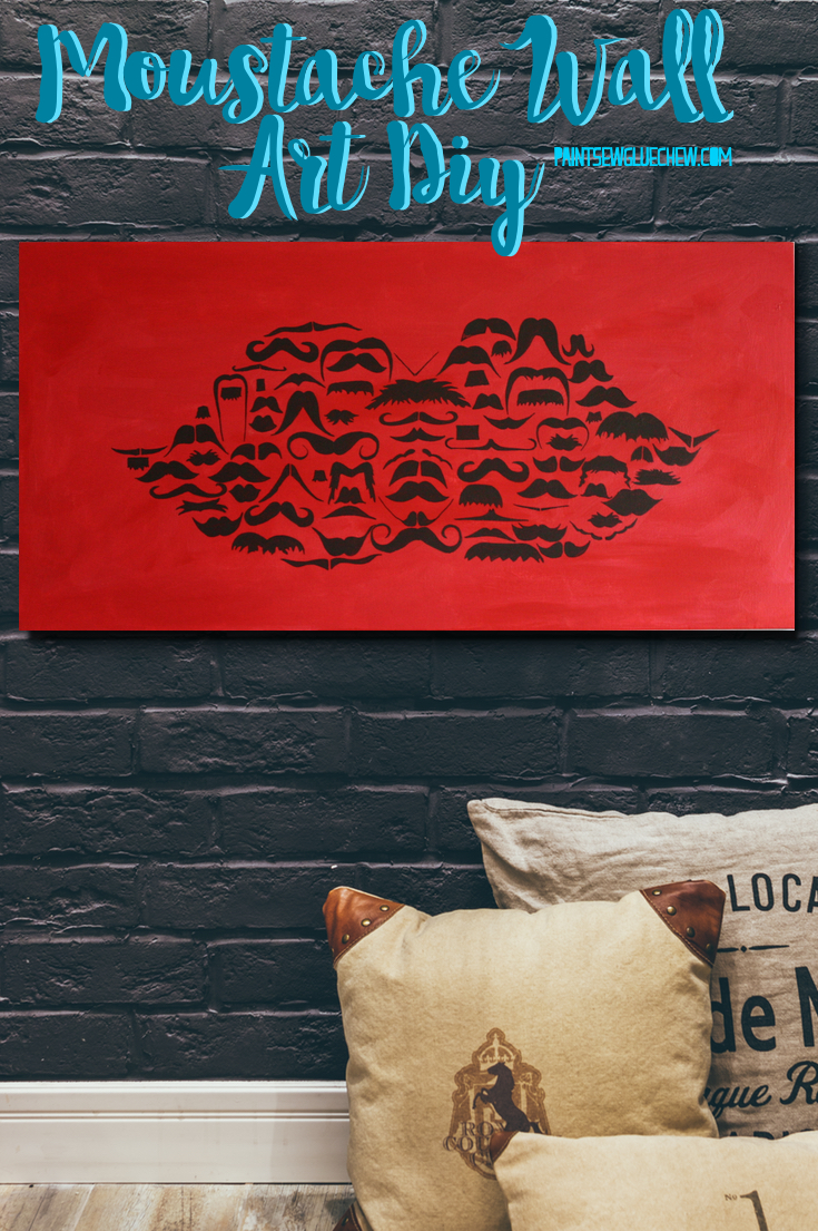 Red canvas on a brick wall with little moustaches in the shape of a large moustache