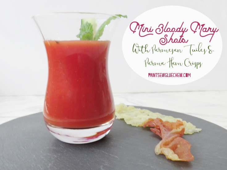 Bloody Mary Shots with Parmesan Tuiles and Parma Ham Crisps
