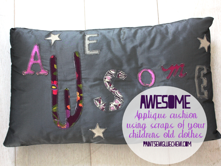 DIY cushion cover - Awesome applique cushion with scraps from kids old clothes