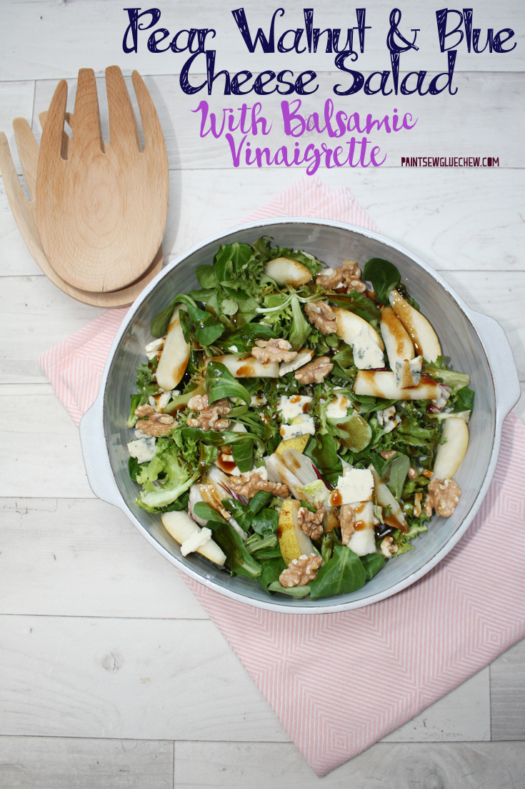 Pear Walnut and Blue Cheese Salad with Balsamic Vinaigrette