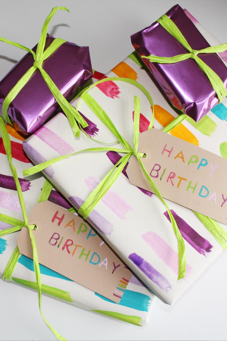 Hand painted rainbow Gift Wrap