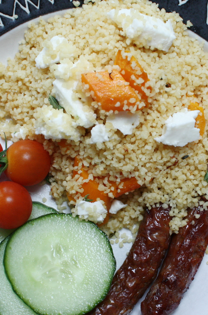 Roasted Carrots with Feta and Couscous
