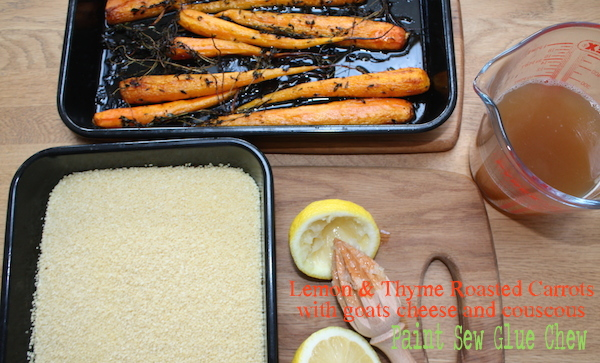 Couscous with lemon thyme roasted carrots and feta