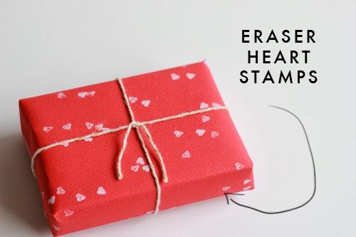 Eraser Heart Stamp Gift Wrap