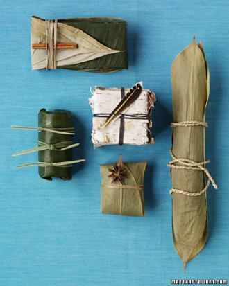 Gifts wrapped in leaves