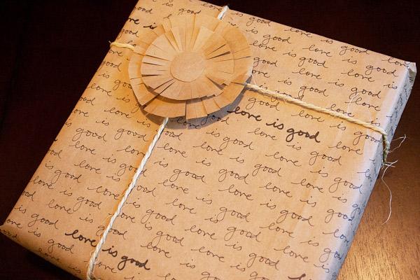 love letter script gift wrap
