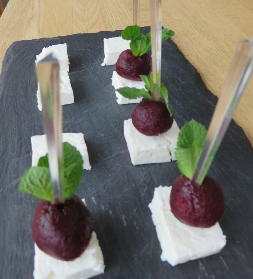 beetroot feta and mint canapé