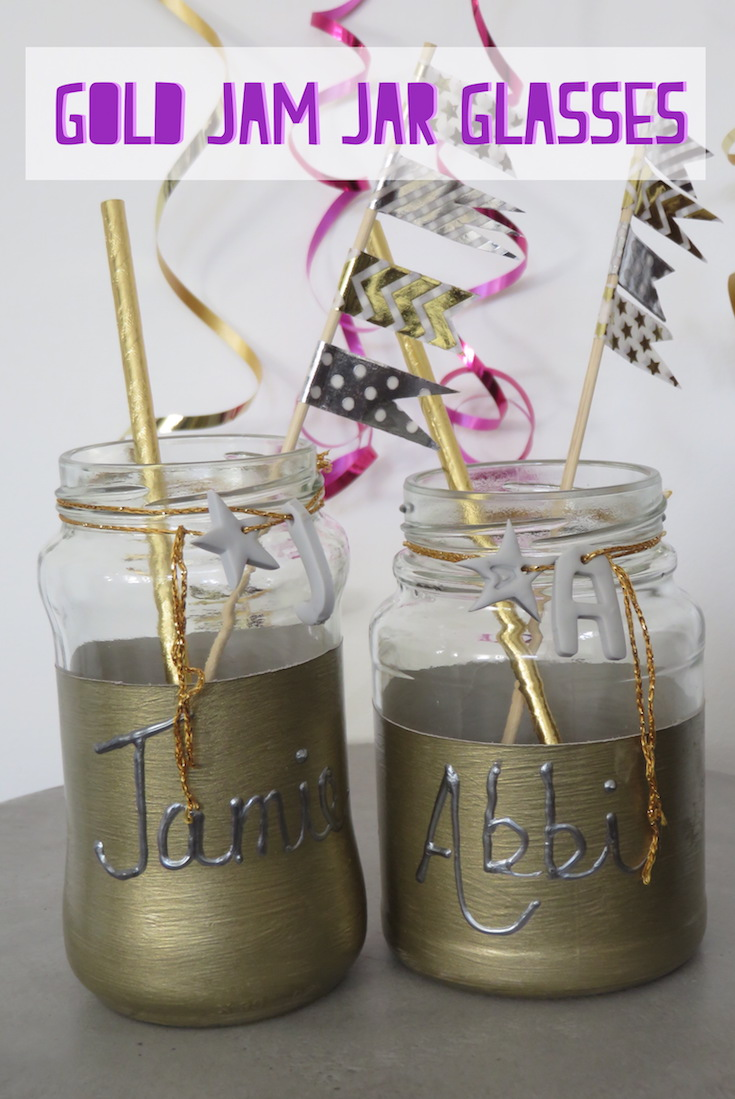 Hand Made Gold Jam Jar Glasses