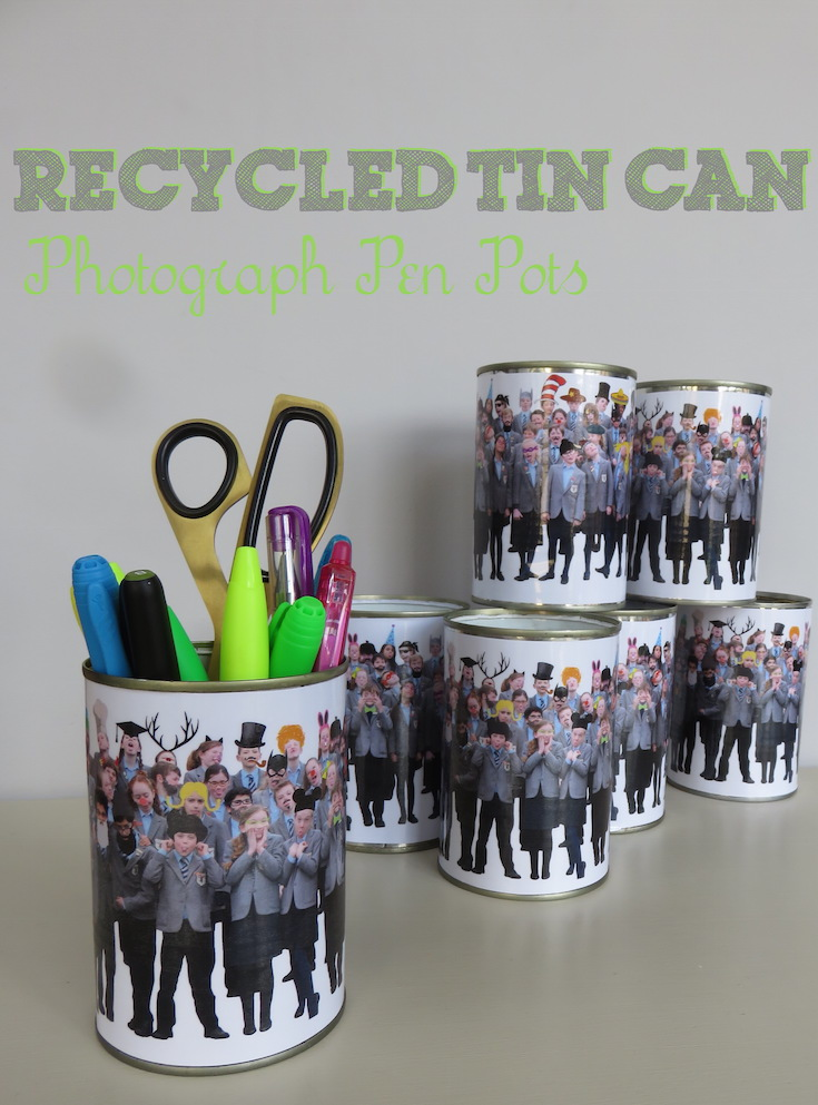 Recycled Tin Can Photo Pen Pots