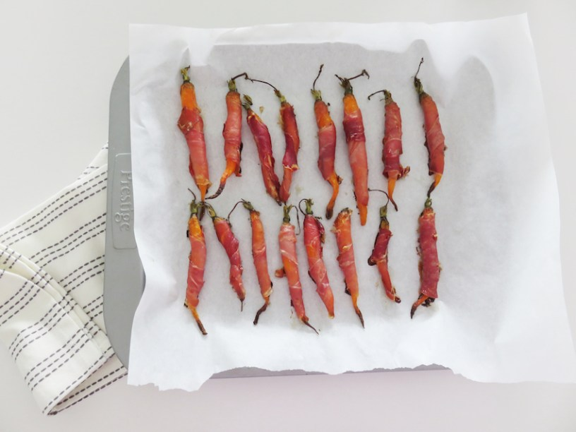 Carrot and parma ham canapes