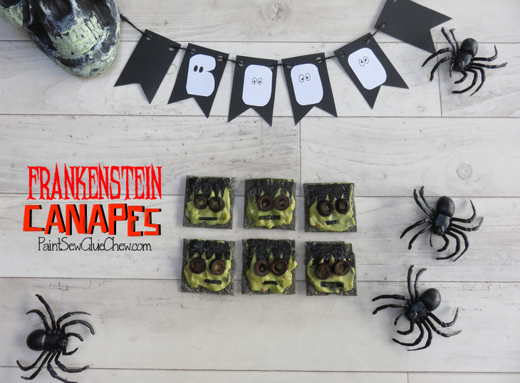 halloween canapes with frankenstein faces