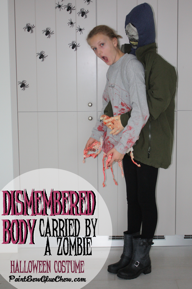 Girl being carried by a Zombie homemade halloween costume