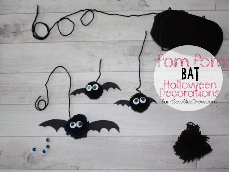 Pom Pom Bat Halloween Decorations