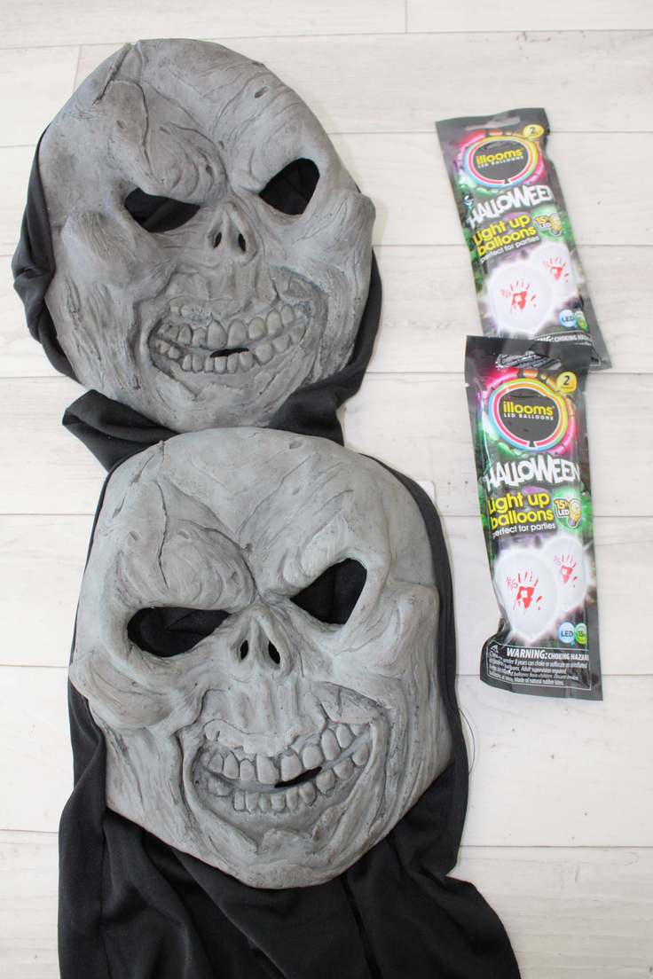 Pound Store Halloween Mask Decorations with Illuminated Balloons