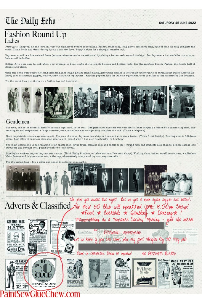 1920 Newspaper party invite