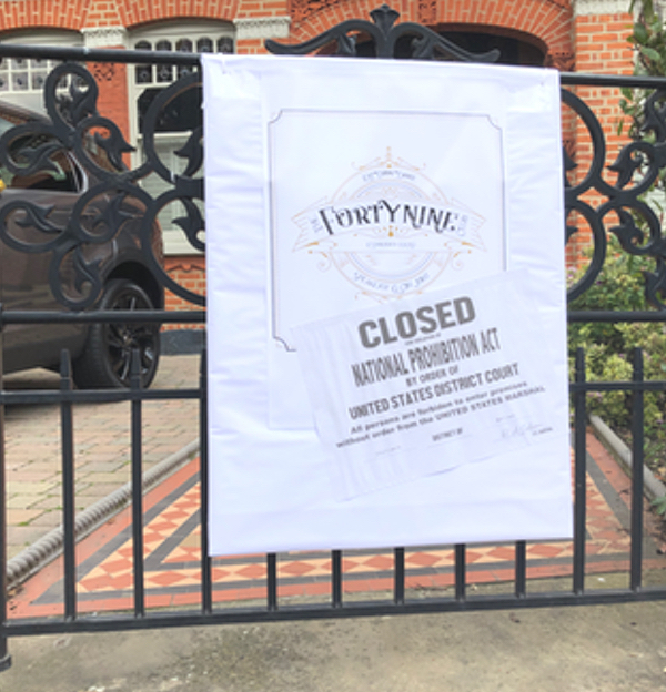 Speakeasy Entrance with closed sign