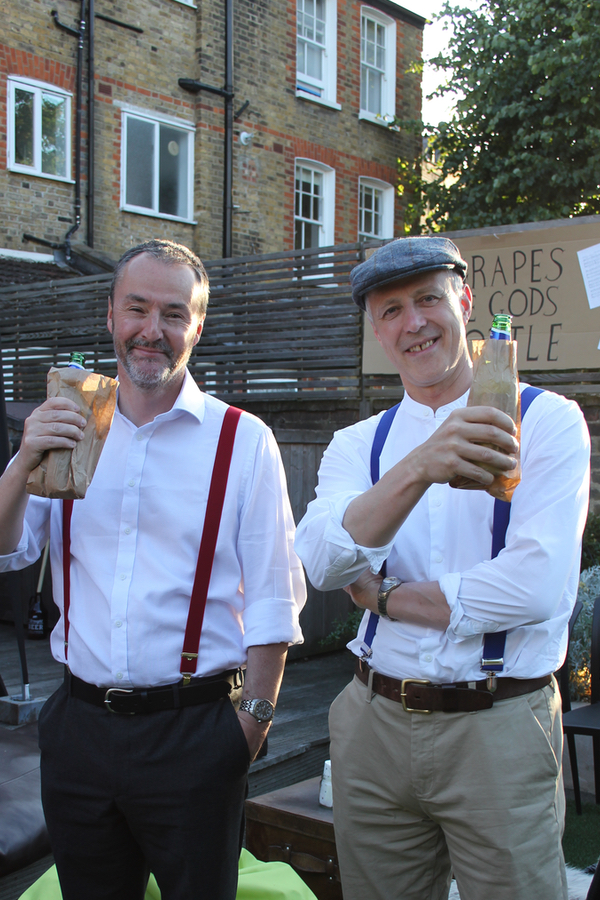 me dressed in 1920s clothed with beer in brown bags