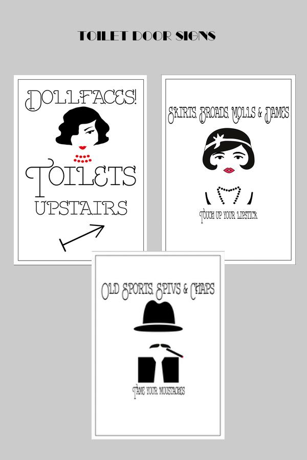 Toilet door signs at speakeasy party