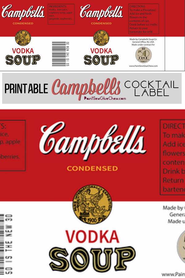 Campbells soup cocktail label free download