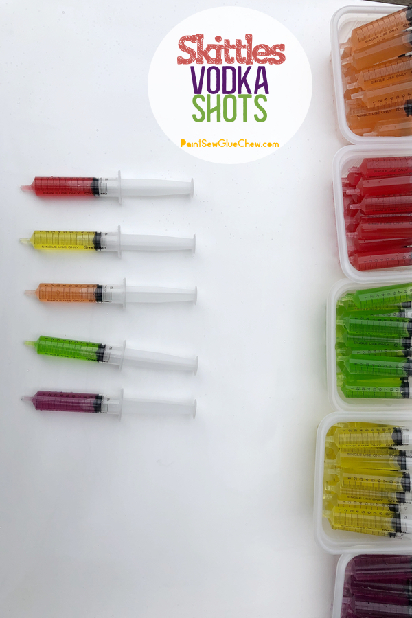 coloured Skittles vodka shots in syringes
