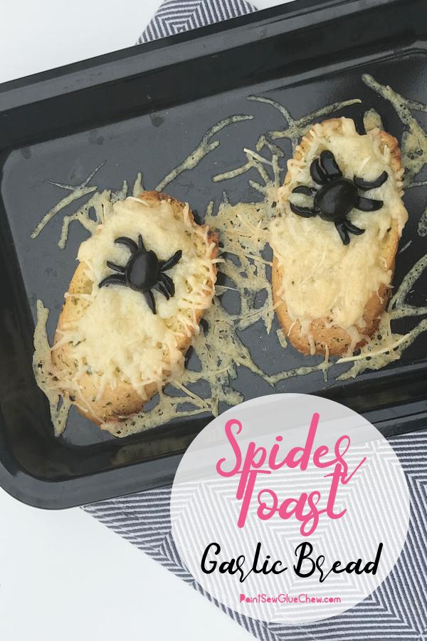 Olive spiders on cheesy garlic Bread