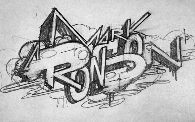 Q MAGAZINE MARK RONSON IN FRONT OF GRAFFITI MURAL PAINTSHOP STUDIO