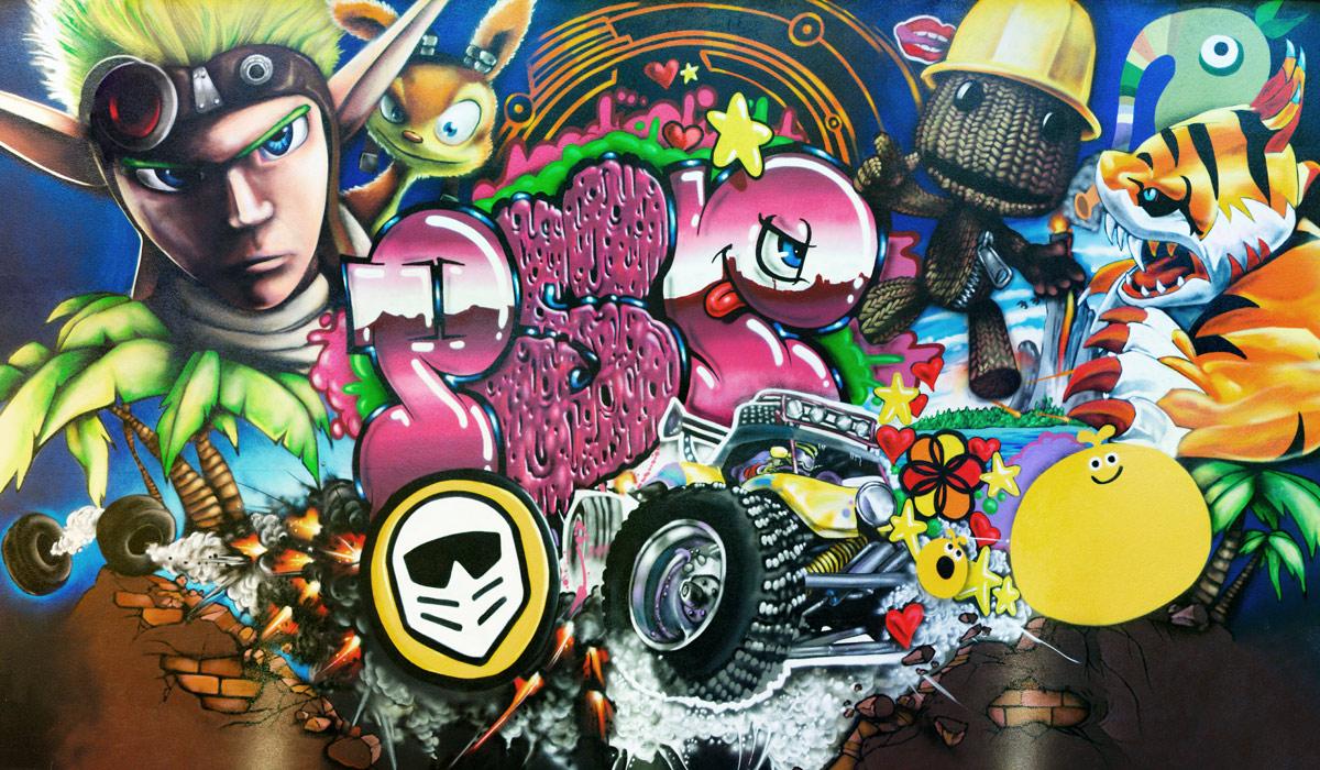 PLAYSTATION HQ LONDON GRAFFITI MONTAGE CHARACTERS MURAL PAINTSHOP STUDIO