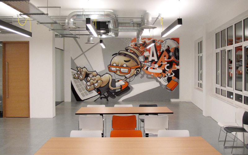 STACK EXCHANGE LONDON OFFICE INTERIOR GRAFFITI MURAL PAINTSHOP STUDIO