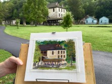 The beautiful stone grist mill was built in 1817, and will be celebrating its 200th birthday next year when I'll be returning to paint the historic building on another (hopefully drier) visit.