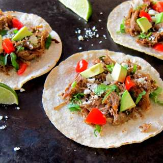 Instant Pot Carnitas landscape open tacos - Paint the Kitchen Red