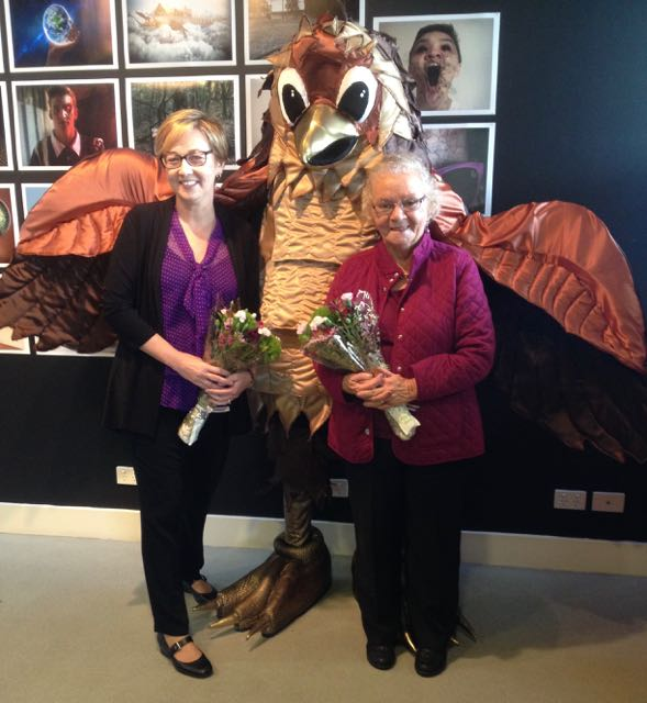 Jodie Harrison, Mayor of Lake Macquarie, and Auntie Zelma Moran with Kora the sea eagle mascot.