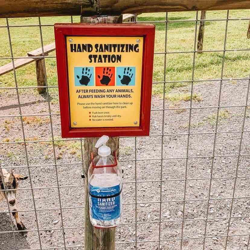 hand sanitizer station at drive through safari