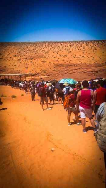 In 2017, long line to get into Antelope Canyon.  Two hour wait.