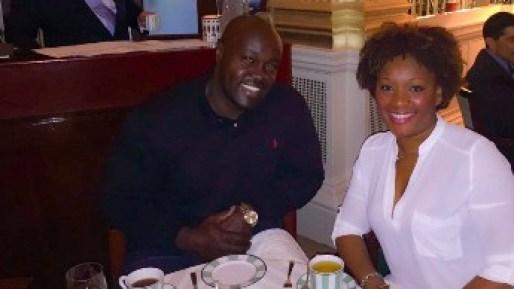 Couple at Claridge's in London for high tea.