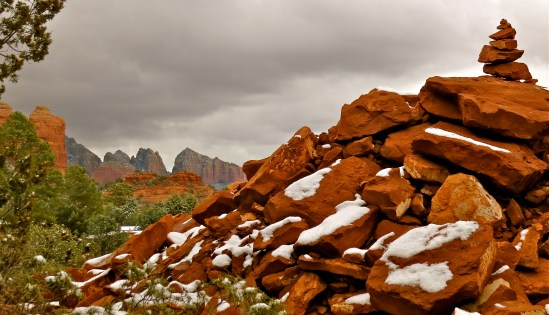 Red rocks with dusting of snow